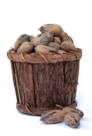 Pecan Nuts in Wooden Bucket