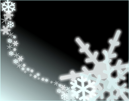 A graduated snowflakes torrent on a black and blue gradient background