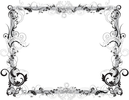 Black and White Floral Frame Illustration