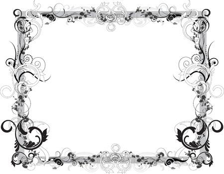 Black and White Floral Frame Illustration