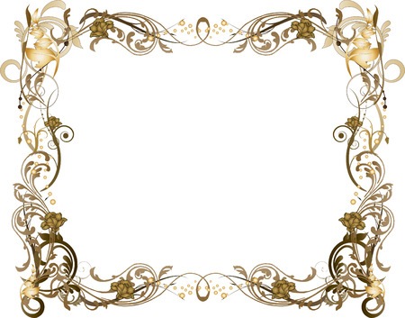 Brown and Gold Floral Frame