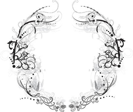 Black and White Arabesque Flowery Vector Frame Illustration
