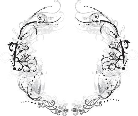 Black and White Arabesque Flowery Vector Frame Illustration