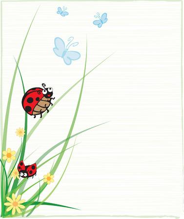 A Ladybug on a Stem Illustration Vector