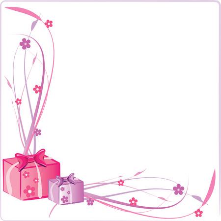 Ilustraciones Vectoriales de Dos Presenta cuadros con flores