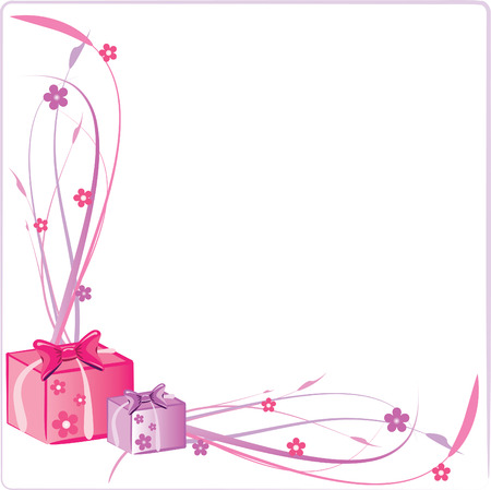 Vector Illustration of Two Presents with Floral Frame