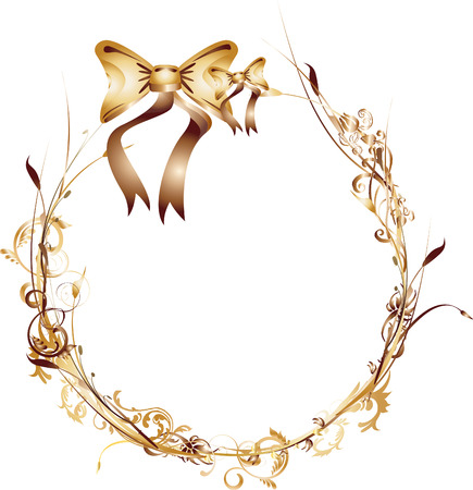 Golden and Brown Round Frame with Ribbon