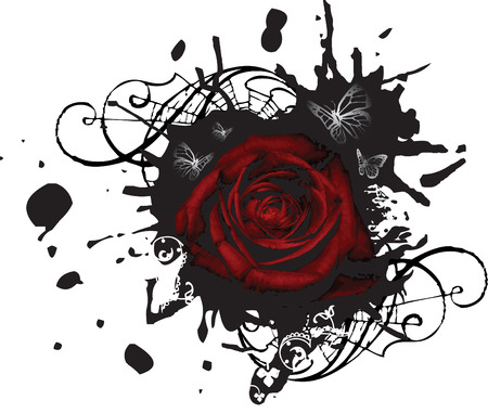 Splotched Grunge Black Sign with Red Rose and Butterflies Illustration