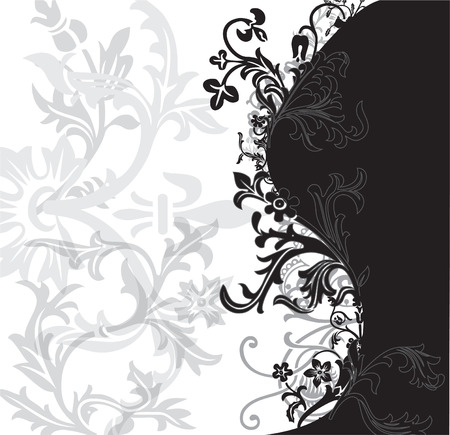 Black, white and silver flowery pattern vector illustration Illustration