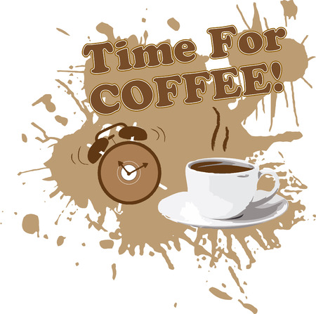 coffee time: Grunge coffee cup with alarm clock and