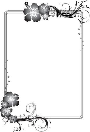 Gray Rectangular Flowery Frame Vector Illustration Illustration