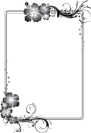arabesque: Rettangolare di colore grigio Fiorito Frame Illustrazione Vettoriale Vettoriali