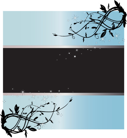 Starry Light Blue Text Background and Frame Vector Illustration