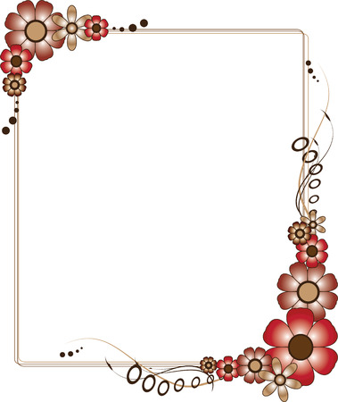nature picture: A brown and red rectangular flowery frame vector illustration