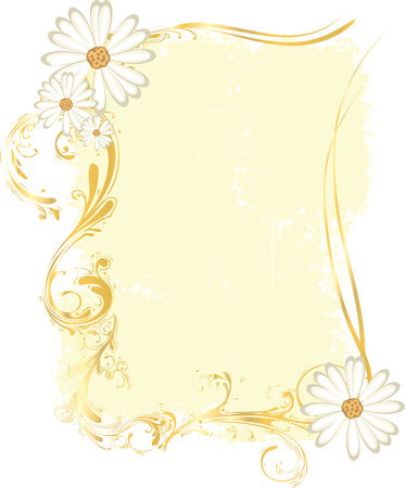 vintage frame vector: A tall rectangular yellow frame with flower ornaments and intricate patterns