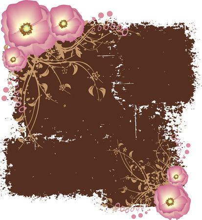 Dirty Brown Grunge Pattern with Pink Flowers Vector Illustration Illustration