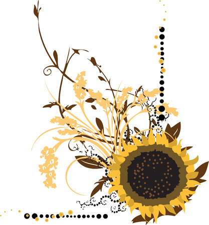 Large Sunflower with Intricate Floral Ornaments Vector Illustration