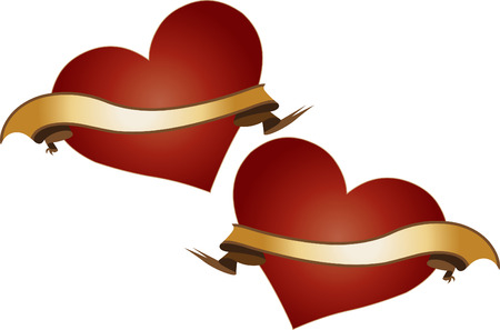 Vector Illustration of two red shiny hearts with golden ribbons