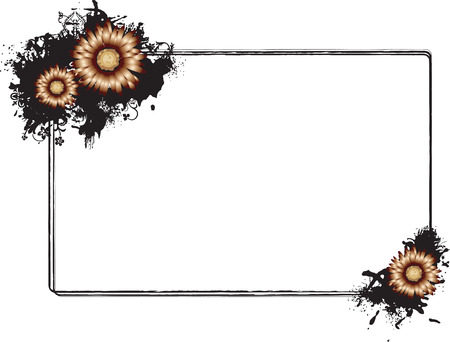 Vector illustration of a rectangular horizontal frame adorned with orange flowers in the southeast and northwest corners Illustration