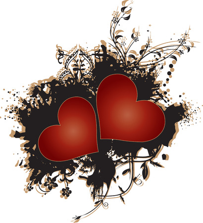 Two red hearts set against a grunge brown and black texture pattern