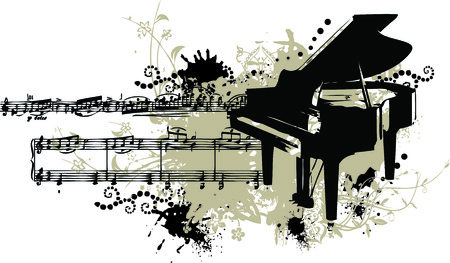 Grunge vector illustration of a piano with splotches, stains and note staff Vector