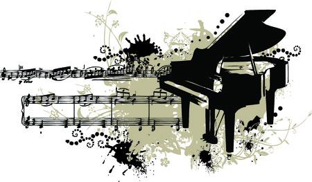 klavier: Grunge Vektor-Illustration eines Klaviers mit splotches, Beize und notieren Personal