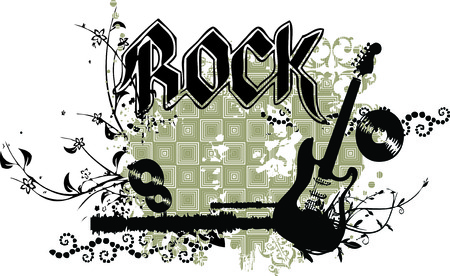 A grunge dirty vector illustration with an electric guitar, ROCK caption and intricate floral ornaments Vector