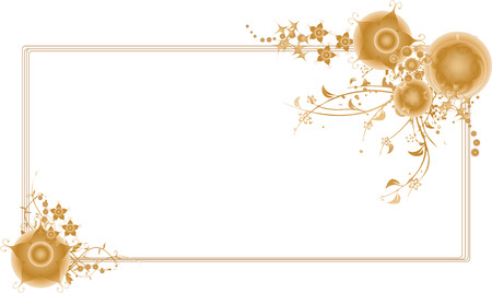 Golden christmas themed frame with intricate floral arabesques vector illustration