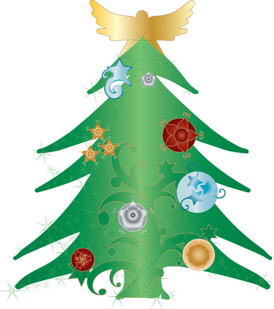 A green christmas tree with holiday ornaments and a golden angel silhouette on top