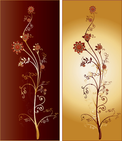 Pair of golden and dark red flowers with intricate ornaments and arabesques Illustration