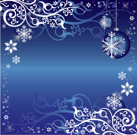 An intricate light blue and white christmas themed pattern vector illustration with ornaments, arabesques, toys and snowflakes