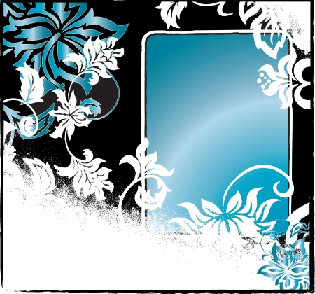 Black grungy background with blue floral streaks and a caption space