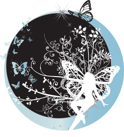 A fairy with an intricate floral background and butterfly wings sitting on a blue crescent moon
