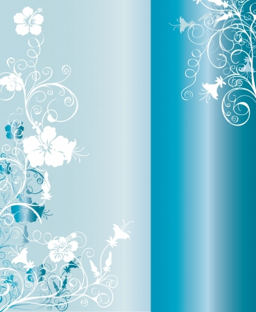 Blue and silver vertical background pattern with intricate ornaments and floral arabesques vector illustration