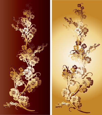 Pair of gold and red flowers with intricate ornaments and arabesques