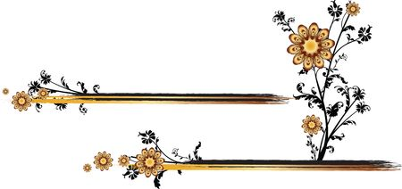 A pair of two horizontal golden lines with a flower arising from the lowermost one