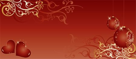 Red Christmas Themed Background Vector illustration with ornaments and balls