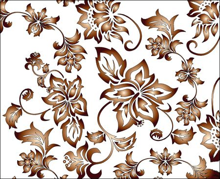 Brown flowery pattern vector illustration with intricate floral arabesques
