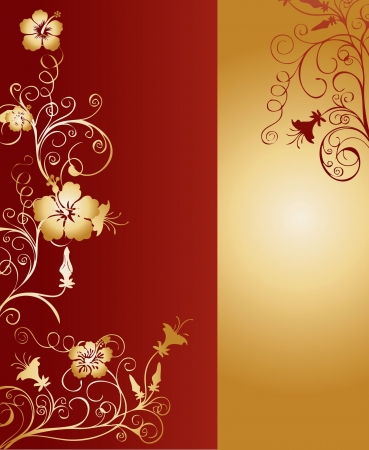 Gold and red vertical background pattern with intricate ornaments and floral arabesques vector illustration Stock Photo