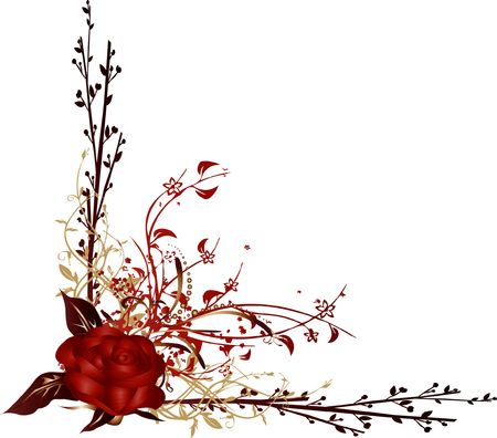 Rose and floral ornaments with intricate arabesques photo