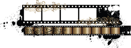 A grungy strip of old film arranged on a grungy and messy background with paint splotches and arabesques Illustration