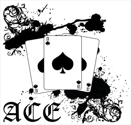 A black, splotched vector illustration of three ace of spades cards