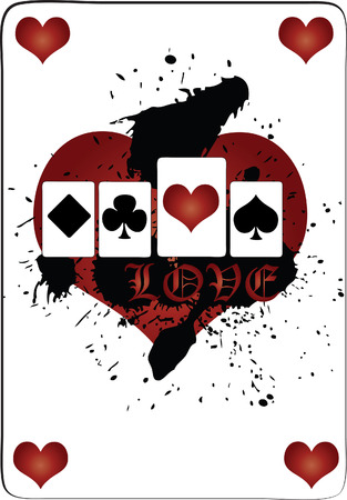A set of playing cards with the ace of hearts enlarged over a grungy black splotched stain and the caption