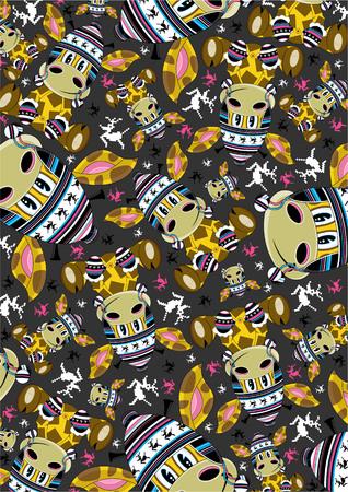 wooly: Cute Wooly Hat Giraffe Pattern Illustration