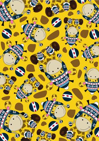wooly: Cute Cartoon Wooly Hat Giraffe Pattern