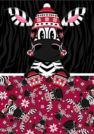 Cute Wooly Hat Zebra Character Illustration