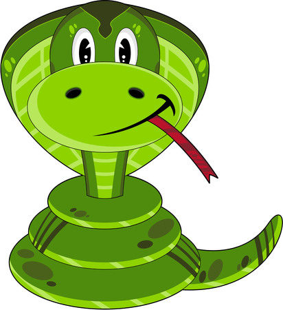 Cute Cartoon Cobra Snake Illustration