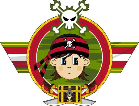cute girl: Cute Cartoon Pirate Girl