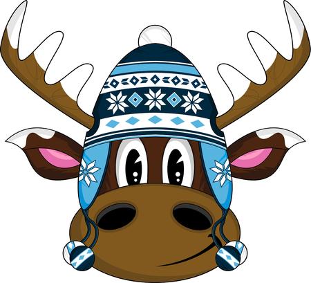 wooly: Cute Cartoon Wooly Hat Reindeer Illustration