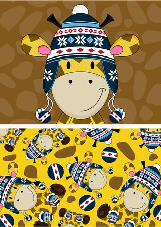 wooly: Cute Cartoon Wooly Hat Giraffe